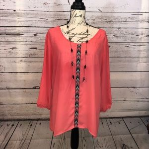 Maurice's | Ladies blouse with tribal detail -L